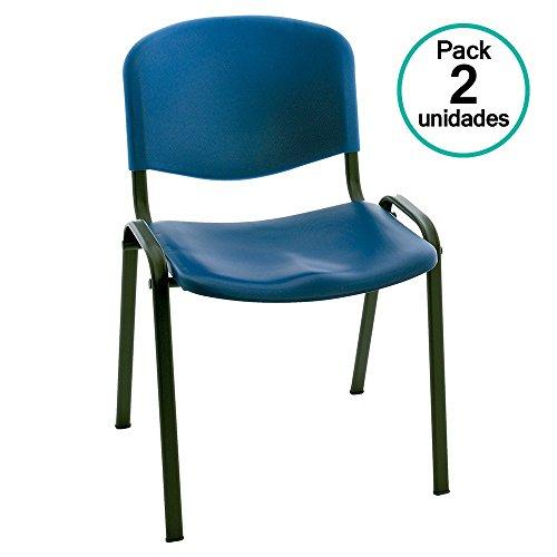 Centrosilla - Silla confidente ISO clasica para Oficina apilable Polipropileno Azul para Salas Espera, Multiusos, confidente (Pack 2 Unidades)