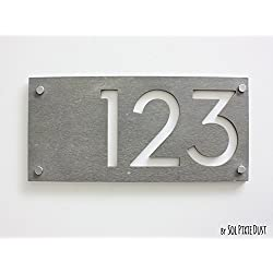 Modern House Numbers, Rectangle Concrete with White Acrylic - Contemporary Home Address - Sign Plaque - Door Number