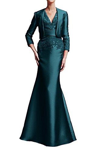 cocktailkleid Etuikleider Kleider Tinte Damen mia Lang Wassermelon mit Braut La Spitze Abendkleider Blau Jugendweihe Jacke 4wFax