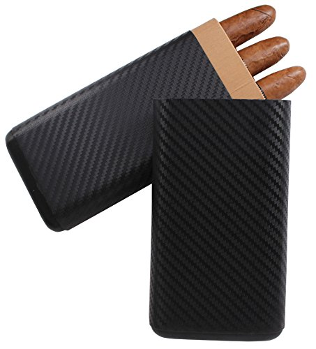 Carbon Fiber Cigar Case (AMANCY Carbon Fiber Leather Cigar Case Cedar Wood Lined 3 Tube Black Cigar Humidor)