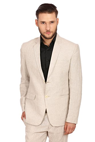 WINTAGE Men's 100% Linen Notch Lapel All Year Natural Color Blazer,48/ 3XL