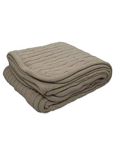(Pro Towels Cable Knit Lambswool Blanket - Mocha -)