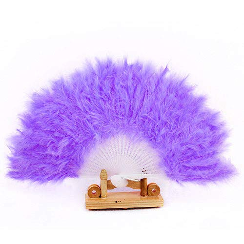 Feather Hand Fan Flapper Accessories Vintage Style Folding Handheld Marabou Dancing Fans Pure Color Soft Women Lady Fancy Dress Costume Dance Feather Fan for Costume, Halloween, Party (Purple) -