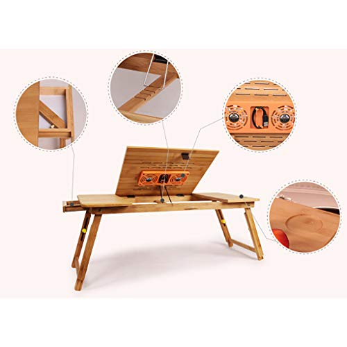 ZCCBJBDNZ Height-Adjustable Laptop Desk with Drawers, Folding Bamboo Laptop Table, Bedside Table for Reading or Breakfast, Drawing Table and Dining Table for Bed (Storage Panel Recess)