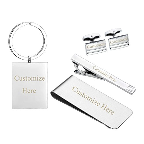 Zysta Free Engraving - Personalized Custom 5pcs/Set Mens Stainless Steel Cufflinks + Tie Clip Bar + Money Clip + Keychain Key Ring, w/Box