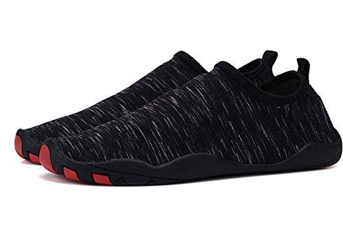 UNN Herren Slip On Water Schuhe Barfuß Quick-Dry Aqua Yoga Sportsocken Schwarz
