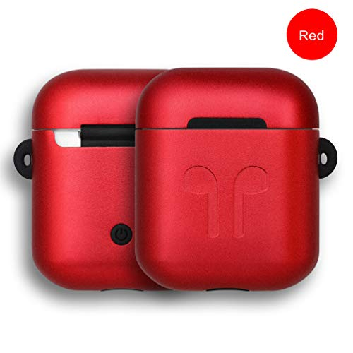 micyou Metal Airpods Case, yoelike Double Protection (Metal + Silicone) Scratchproof Cover Skin Compatible Airpods 1&2 [Not for Wireless Charging Case] with Keychain/Strap/Earhook/Storage Box (Red)
