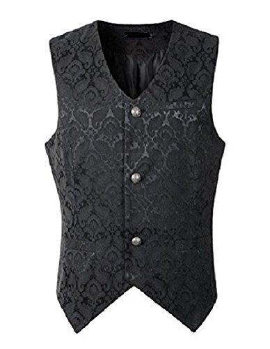 Men's Brocade Vest Waistcoat Gothic Steampunk Victorian/Western-Reenactment (Small, Brocade) ()