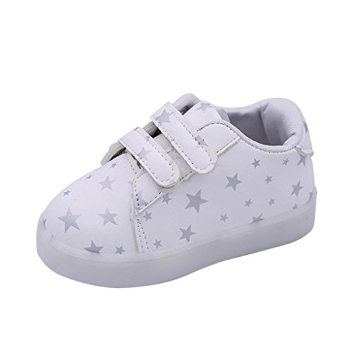Iuhan LED Luminous Baby Fashion Sneakers Child Toddler Casual colorful Light Shoes (1 Year Old, White)