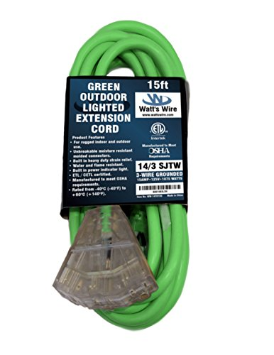 15 ft 14 Gauge Heavy Duty Indoor Outdoor SJTW Lighted Triple Outlet Extension Cord by Watts Wire - Green 15 foot 14 AWG Copper Lighted Multi Outlet Grounded 14/3 Extension Cord