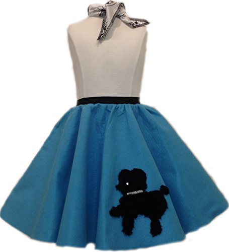Toddler Poodle Skirt with Scarf (Turquoise) - Turquoise Poodle Skirt