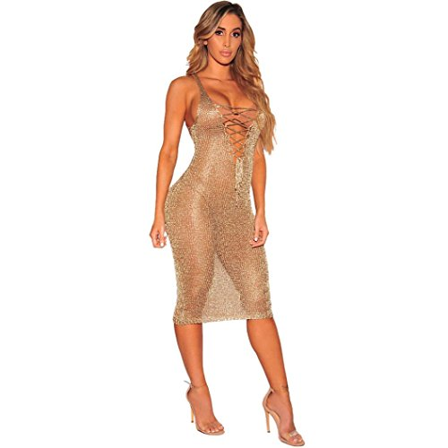 Sale Fishnet - Jushye Hot Sale!!! Womens Bikini Cover up, Fashion Sexy Crochet Hollow Out Beach Swimsuit Fishnet Cover up Bathing Swimwear Dress (Gold, M)