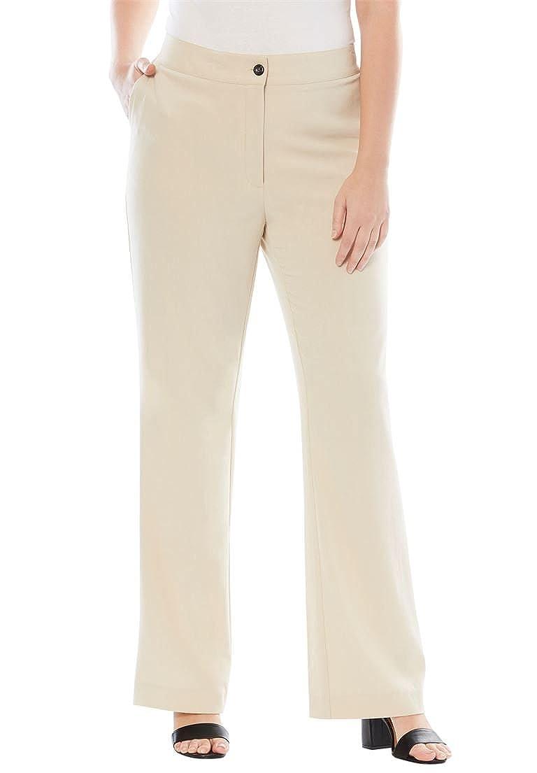 Jessica London Women's Plus Size Petite Bootcut Bi-Stretch Pants