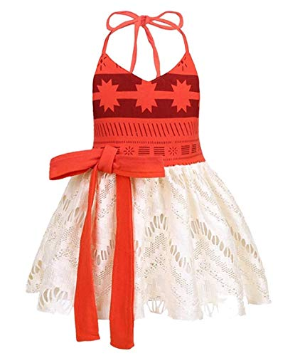 Toddler Infant Baby Girl Clothes Lace Halter Backless Jumpsuit Dress Tulle Sundress Adventure Costume Outfits (Orange, 12-18Months) -
