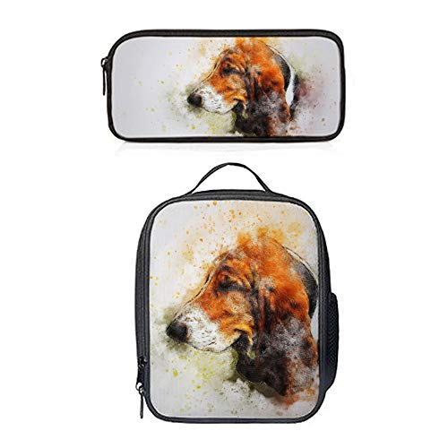 SARA NELL Watercolor Cute Brown Beagle Puppy Dog Animal Lunch Bag&Pencil case Set with Padded Straps for Boys Girls