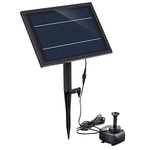 Lewisia Built-in Battery Solar Fountain Pump with RGB LED Lighting for Pool Pond Waterfall Garden Water Feature Battery Backup Solar Water Pump Kit 5W
