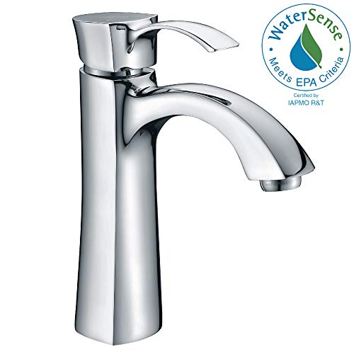 - ANZZI Rhythm Single Handle Single Hole Bathroom Sink Faucet in Commercial Polished Chrome | Vessel Basin Sinks Waterfall Deck Mounted cUPC Lavatory Faucet | L-AZ013