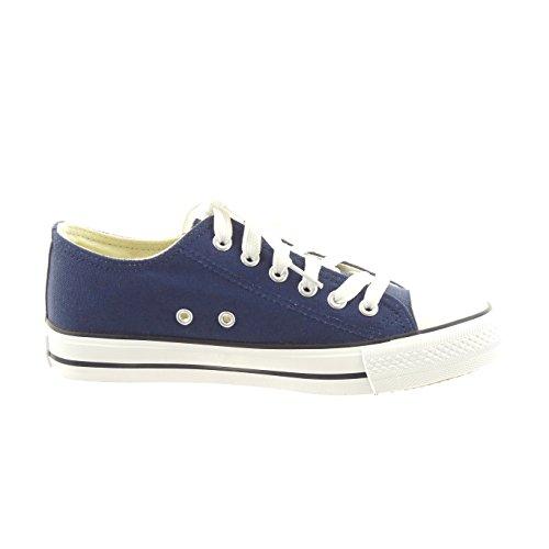 Sopily - Scarpe da Moda Sneaker alla caviglia donna lacci Tacco a blocco 2.5 CM - soletta tessuto - Blu