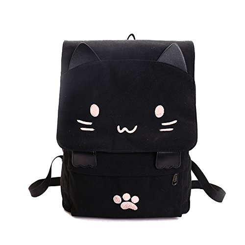 - DanSoul Fashion Backpacks for Teen College Students Cute Kitty Knapsack Purse Women Travel Canvas Causal Bag Black - Pink Cat