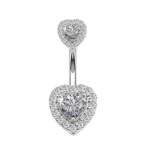 Changgaijewelry Rose Gold Double Heart Love Cubic Zirconia Belly Button Rings (Silver)