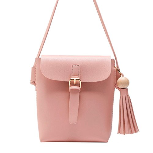 Womens Bags Leather Shoulder Esailq And Small Pink Handbag Girls Cheap Brown aX4OWpq