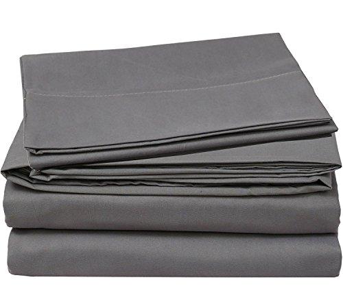 Cotton Sateen Queen Bed-Sheet-Set Grey - 4 Piece Bedding Set