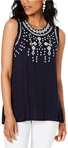 Style Co Womens Embellished Sleeveless Top