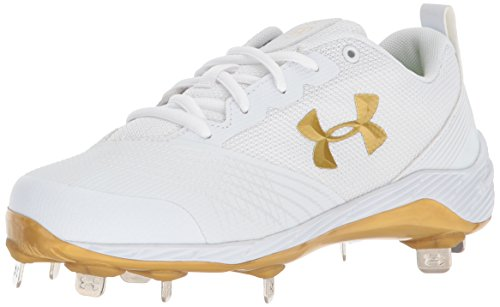 Under Armour Women's Glyde ST Softball Shoe, White (101)/Metallic Gold, 6.5