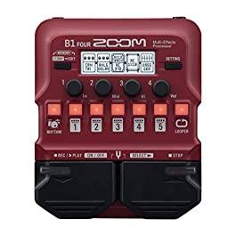 Zoom B1 FOUR Bass Guitar Multi-Effects Processor Pedal, With 60+ Built-in effects, Amp Modeling, Looper, Rhythm Section…