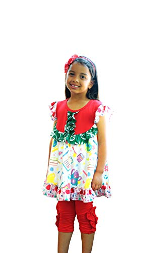 Toddler Little Girls Back to School Crayons Books Tunic Top Ruffles Capri Set Red Green -