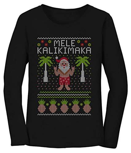 Mele Kalikimaka Hawaiian Santa Ugly Christmas Women Long Sleeve T-Shirt
