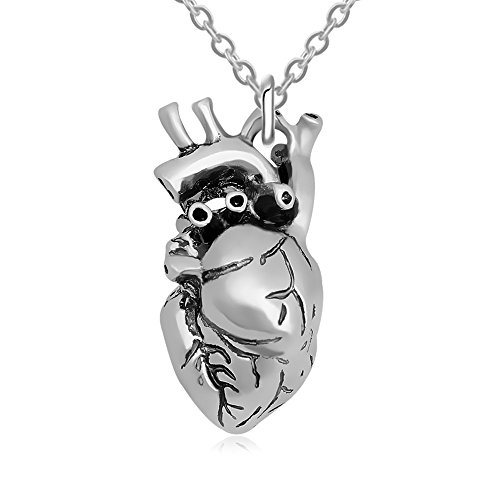 TUSHUO Antique Tone Bloody Heart Pendant Necklace Cool Human Organ Long Chain Necklace (Silver) Antique Heart Pendant