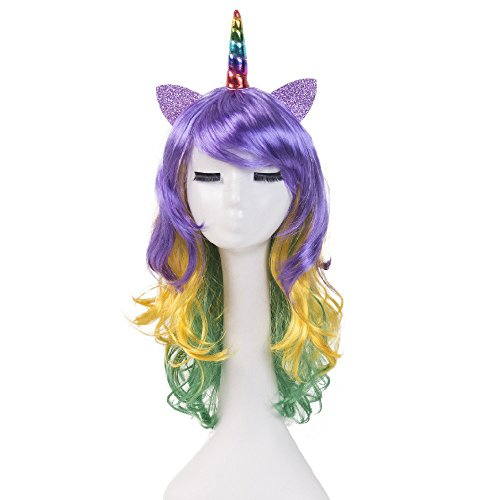 Numberus Colorful Unicorn Wigs Cosplay Comic Wigs with Free Headpieces for Halloween Party Use -