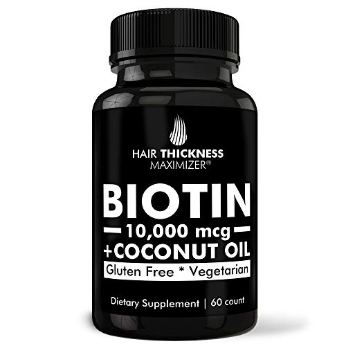 Biotin 10000mcg Vitamins + Organic Coconut Oil by Hair Thickness Maximizer. Hair Growth Vitamin Supplement for Women + Men. Made in USA. Combats Hair Loss + Thinning Hair. 60 Pills