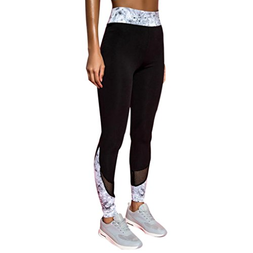 3fc01f1cedafe2 Ankola Women's Stretchy Skinny Mesh Insert Workout Tights Leggings  Patchwork Yoga Pants