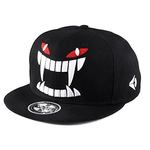 Sunlitro Unisex Flat Bill Hip Hop Hat Snapback Baseball Cap (Black 029)