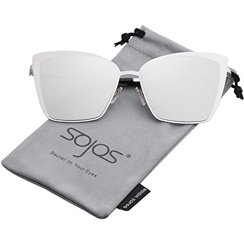 (SOJOS Cateye Sunglasses for Women Fashion Mirrored Lens Metal Frame SJ1086 with Silver Frame/Silver Mirrored Lens)