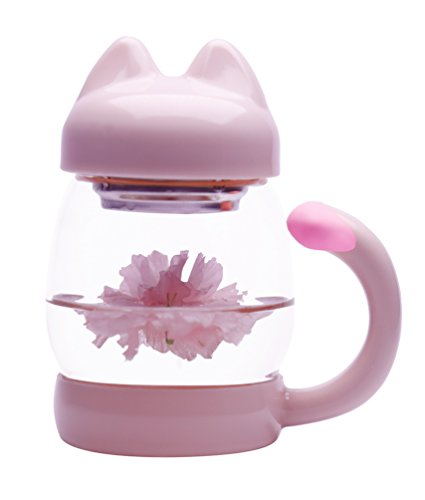Cute Cat Tea Mug - Glass Coffee Teacup with Lid Tea Infuser Strainer - 14oz Lovely Kitty Cups Heat Resistant Mugs for Home Décor (Pink)