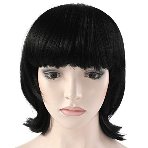 OneDor 12 Inch Women Short Black Straight Hair Cosplay Flip Wigs with Flat Bangs for Women, Girls (1B - Off Black)