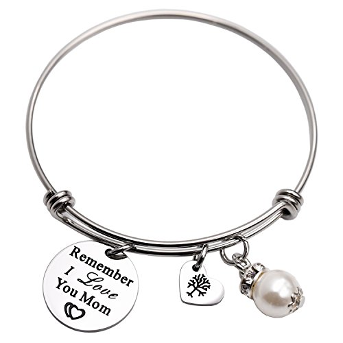 LParkin Remember I Love You Mom Bangle Bracelet (White)]()