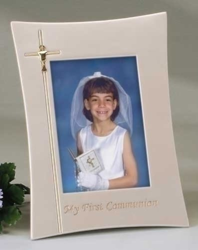 (My First Communion Goldtone 6.5 x 9 Inch Resin Stone Easelback Picture Frame)