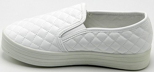 DEV Womens Breckelle Reneeze Quilted Leather Multicoilor Platform Slip On Sneaker Shoes White gqEj2MDFDR