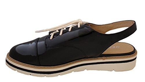 Fond Blanc Soda Femmes Oxford Chaussures Noir Pat