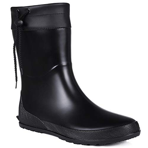 Asgard Women's Mid Calf Rain Boots Collar Gardening Boots Ultra Lightweight Portable Garden Shoes Black 38