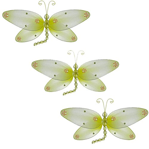 Taylor Dragonfly Decoration yellow - small-10 3D Hanging Mesh Organza Nylon Decor for Baby Nursery Room, Girl
