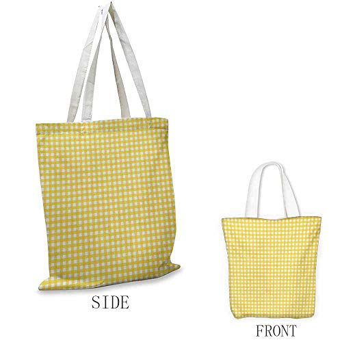 Checkered Tablecloth Portable shopping bag Classic English Pattern in Yellow Picnic in Summertime Theme Retro Striped Convenient; save space W15.75 x L17.71 Inch Yellow White