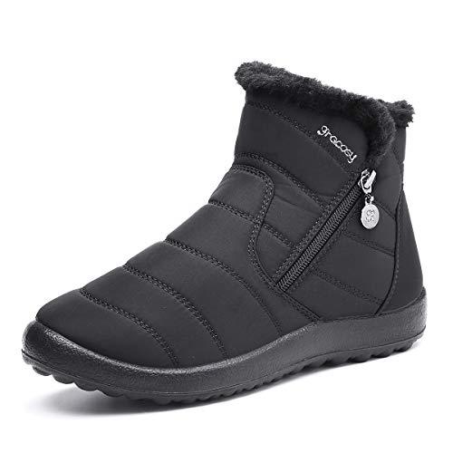 gracosy Botas de Mujer 2020 Otoño Invierno Goma Encaje Forro de Piel Punta Redonda Botas de Nieve Zapatos de Trabajo…