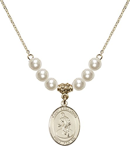 Gold Plated Necklace with 6mm Faux-Pearl Beads & Saint Sebastian/Wrestling Charm. by F A Dumont