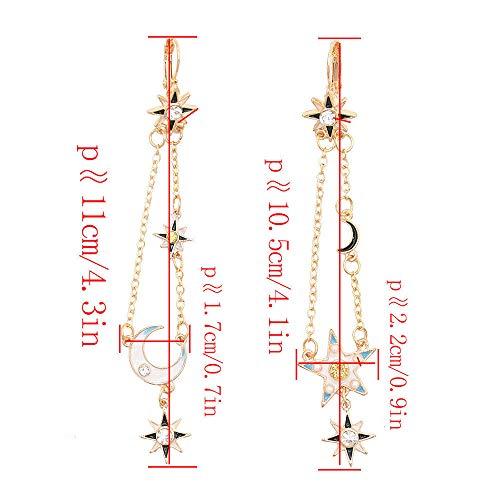 Ammolite Round Earrings - Unique Stud Earrings Star Moon Design Asymmetric Earrings Long Tassel Style