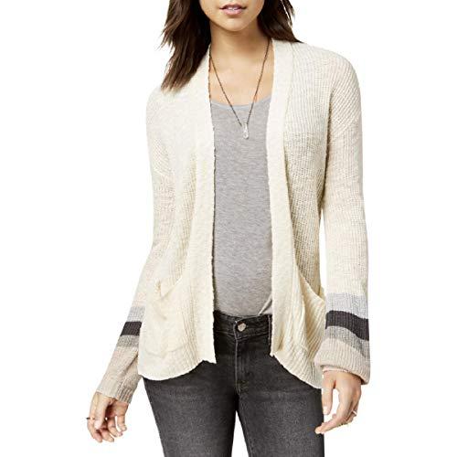 - Freshman Womens Striped Puff Sleeves Cardigan Sweater Ivory M